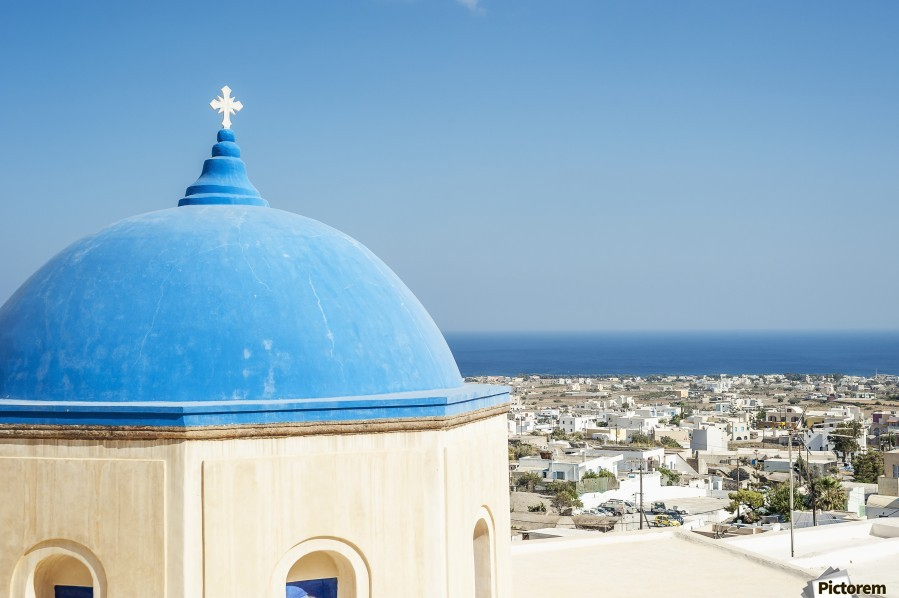 Church with a blue dome roof and view of the Aegean sea; Megalochori, Santorini, Greece  Print