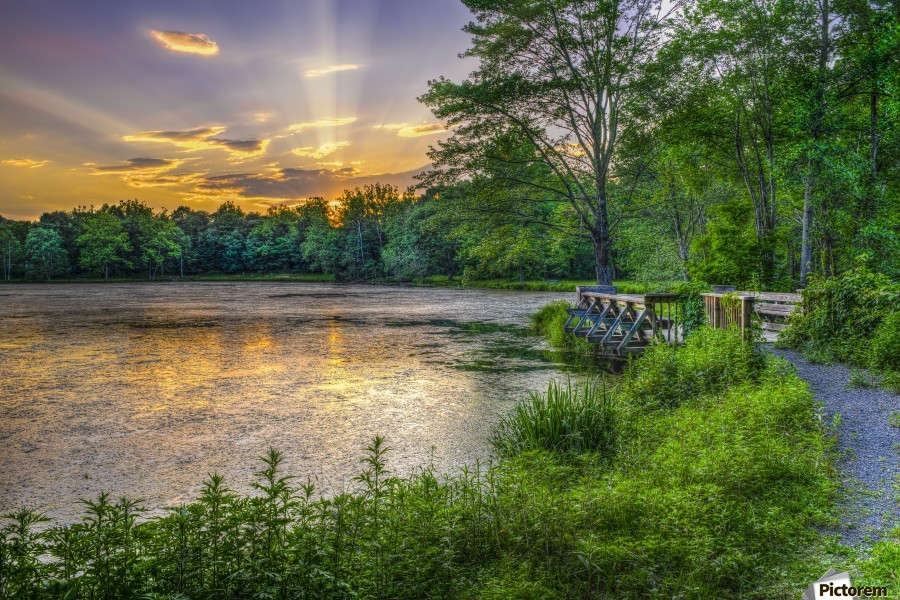 Lakeside sunset; Bushkill, Pennsylvania, United States of America  Print