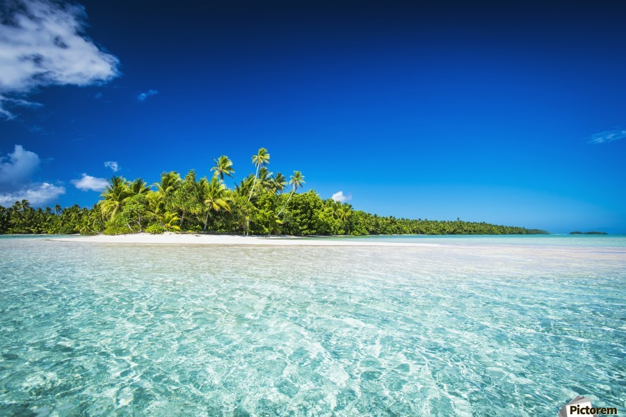 An island that forms part of the marine park, near the Tuvalu mainland; Tuvalu  Print
