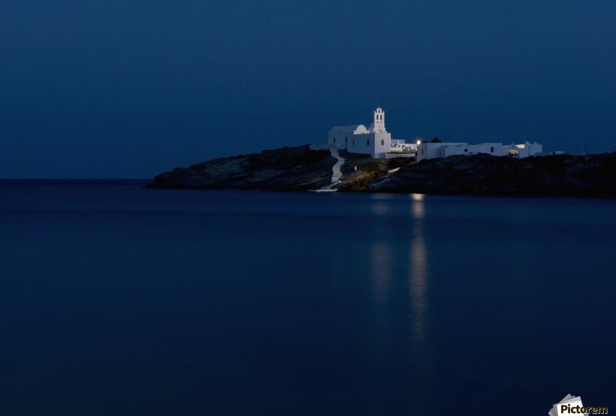 The Chrysopiyi Monsastery in Southeastern Sifnos at dusk; Sifnos, Cyclades, Greek Islands, Greece  Print