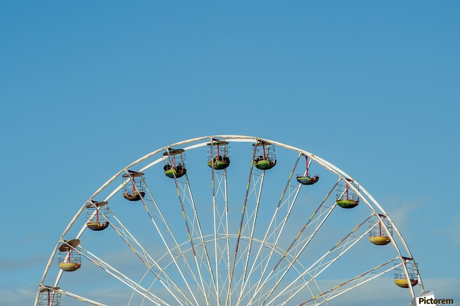 Ferris wheel at the Central Pier; Blackpool, England  Print