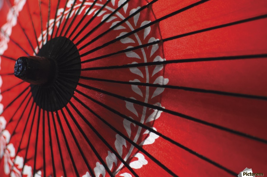 Japanese red umbrella; Kyoto, Japan  Print