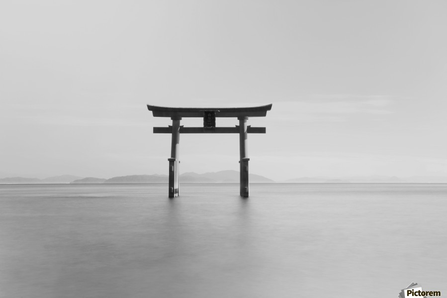 Black and white image of a floating shrine on a lake; Takashiyama, Shiga, Japan  Print