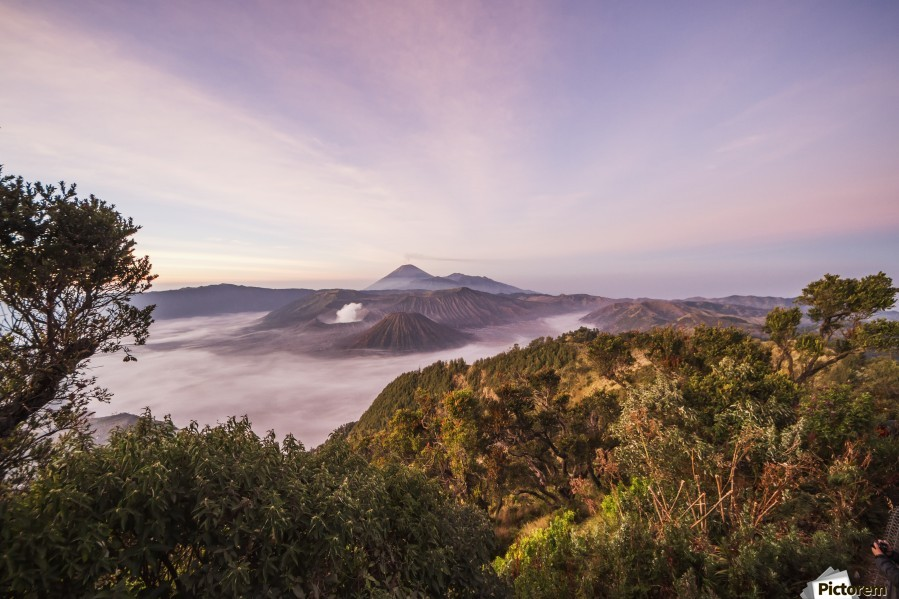Tengger Caldera with steaming Mount Bromo, Mount Batok and Mount Semeru in the background, seen from the western viewpoint at dawn, Bromo Tengger Semeru National Park, East Java, Indonesia  Print