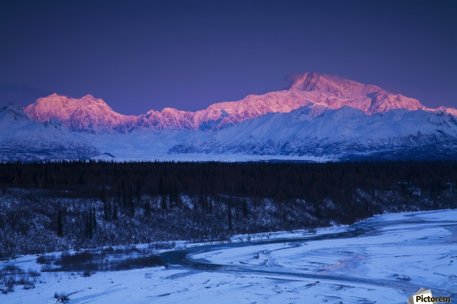 Alpenglow on Mt. McKinley and Mt. Hunter as seen from the Denali South Overlook along the Parks Highway, Denali State Park, Alaska, Winter  Print