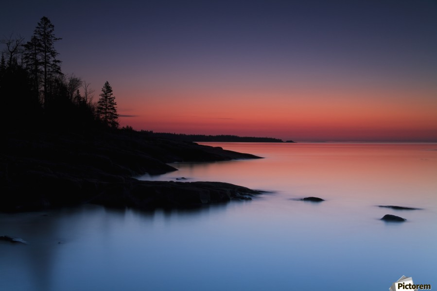Dawn over the North Shore of Lake Superior, near Duluth; Minnesota, United States of America  Print