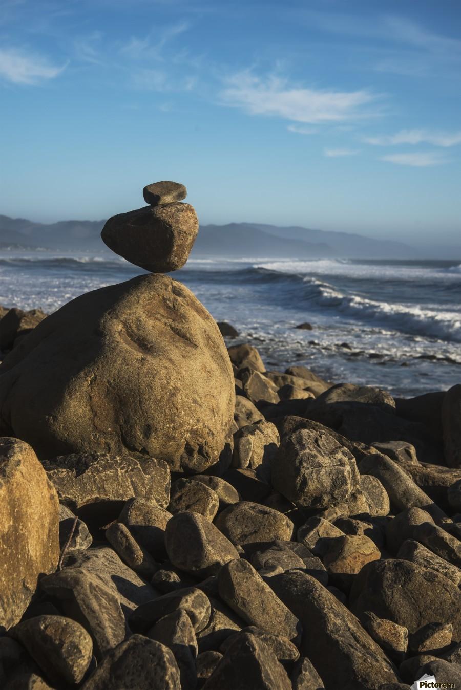 Stones have been balanced on Neahkahnie Beach; Manzanita, Oregon, United States of America  Print