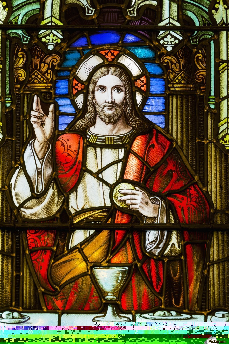 Close Up Of Stain Glass Window With Jesus Christ At A Table