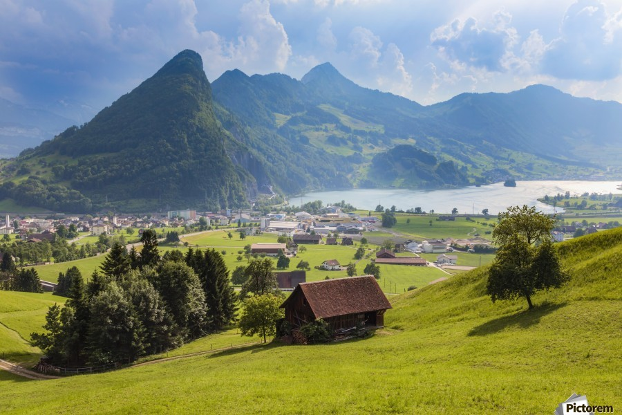 Seewen, a village on Lake Lauerz; Schwyz Canton, Switzerland  Print