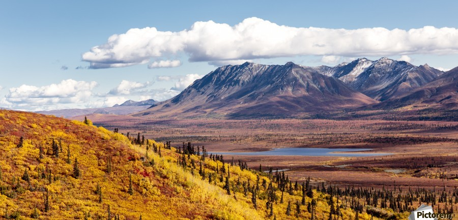 Scenic view of peak fall colors along Matanuska Valley, Southcentral Alaska  Print