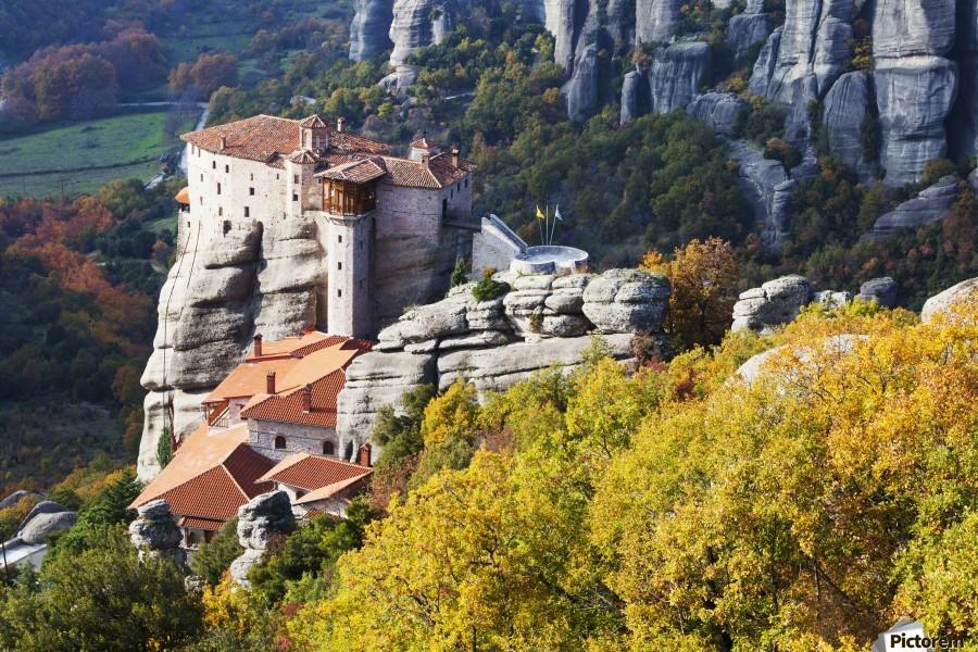 Monastery on a cliff; Meteora, Greece  Print