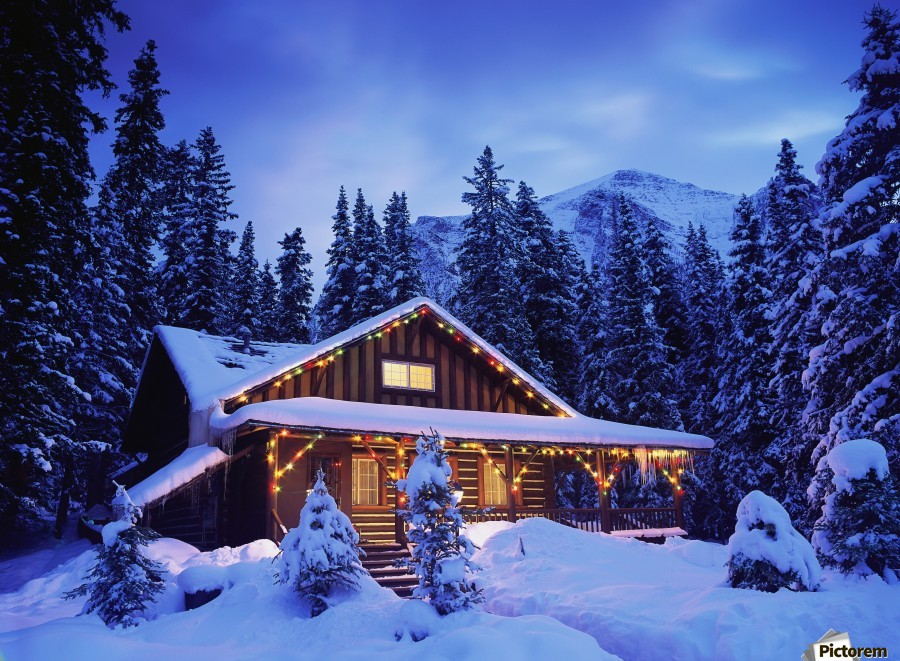 Cabin in the woods illuminated by Christmas lights  Print