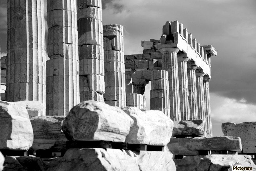 Mono piles of stones before ruined Parthenon; Athens, Attica, Greece  Print