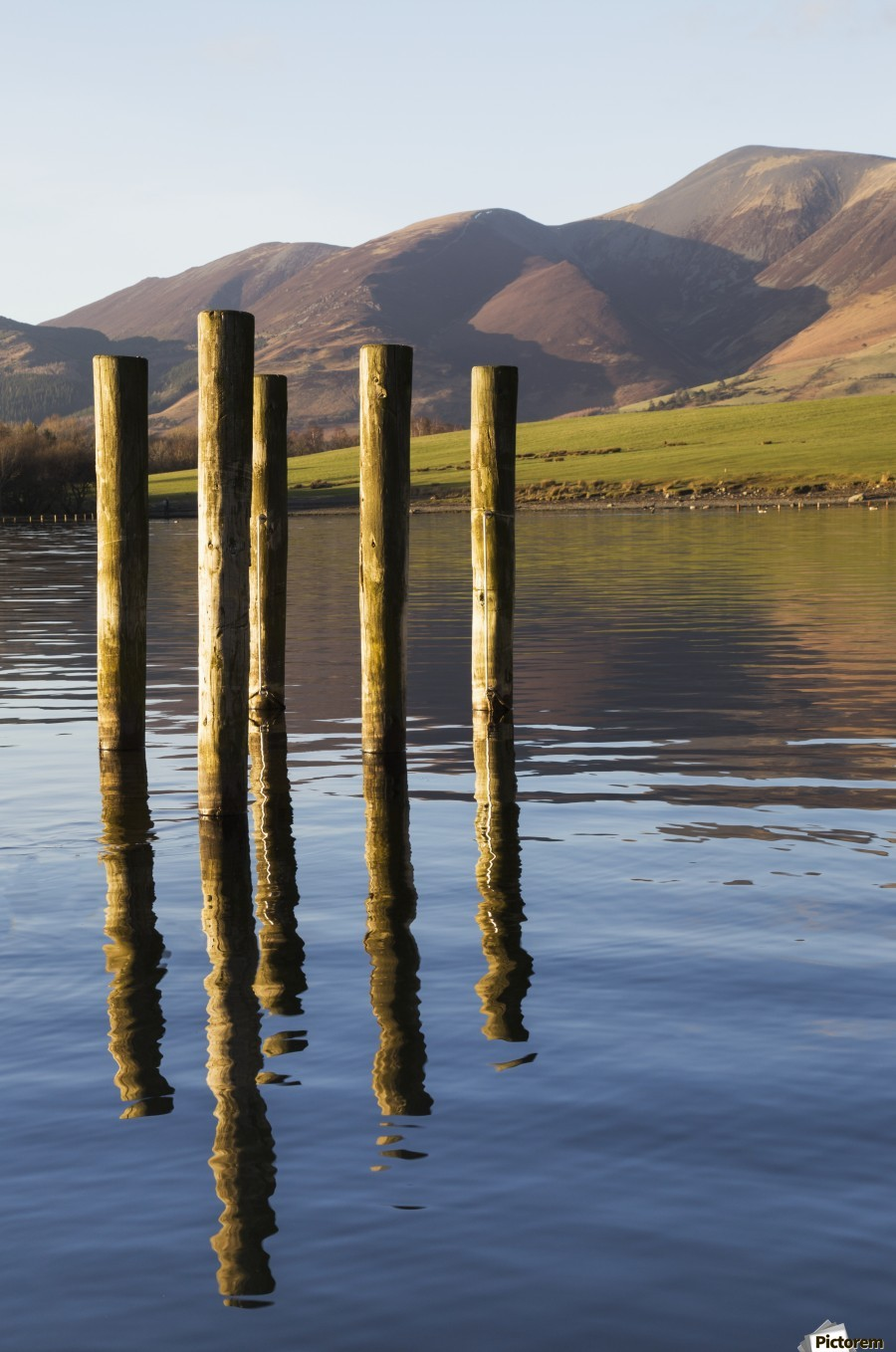 Wooden posts reflected in tranquil after with mountains the the background; Keswick, Cumbria, England  Print