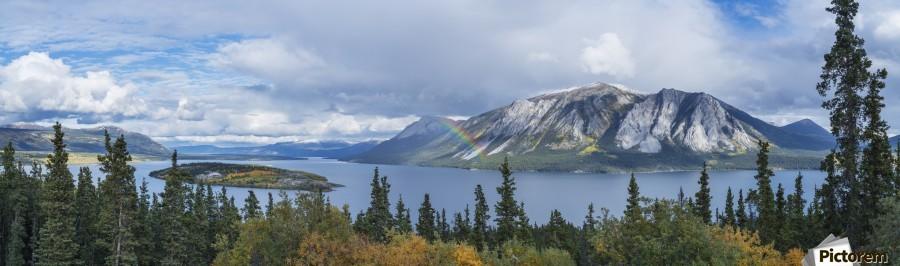 Fall showers create a rainbow over Tagish Lake, Bove Island, along the Klondike Highway, Yukon Territory, Canada  Print