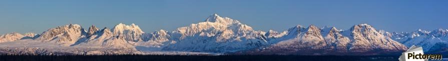 Panoramic view of sunrise over Denali and the Alaska Range, Denali State Park, Southcentral Alaska, Winter  Print