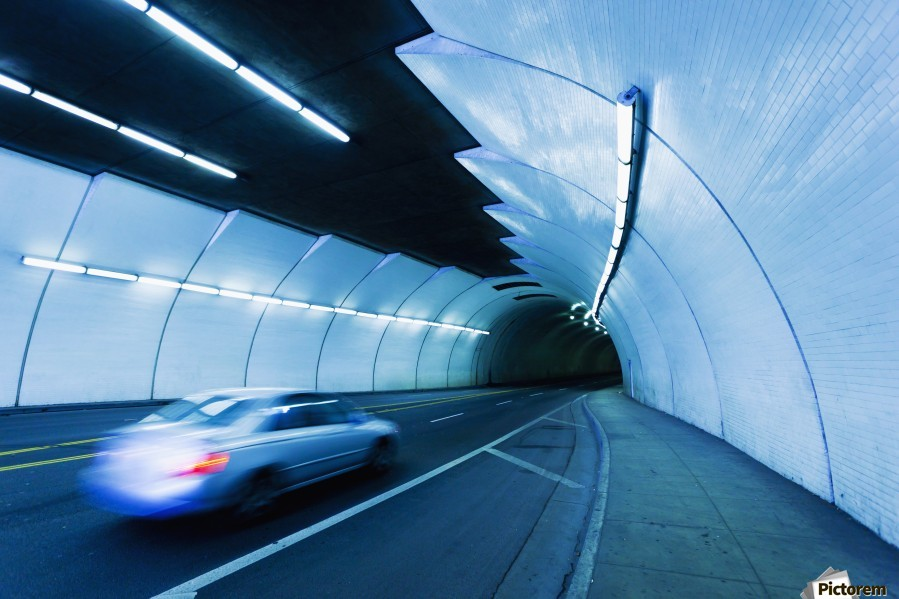 Urban Tunnel, Car moving with Motion Blur  Print