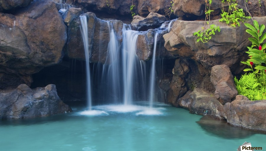 Waterfall into Resort Pool  Print