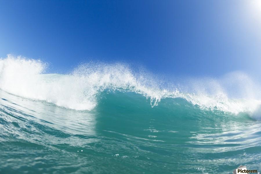Blue Ocean Wave and Sunny Blue Sky  Print