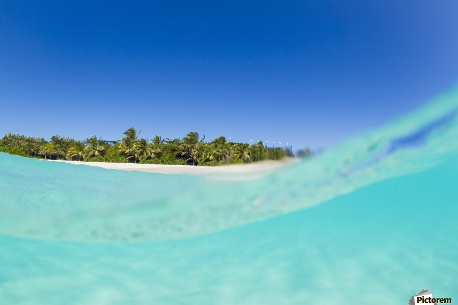 Tropical Island, Blue Sky and Beautiful Ocean  Print