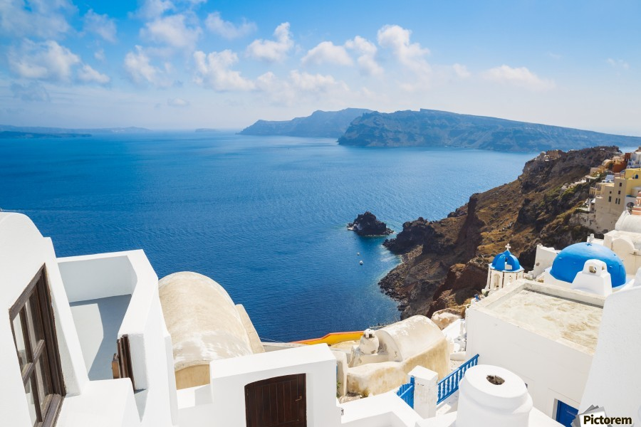 Santorini Island, Greece, Beautiful View of Blue Ocean and Traditional Dome Church Architecture  Print