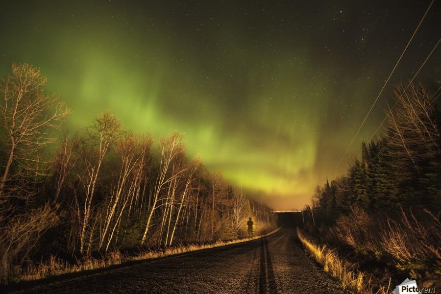 Aurora borealis over road; Thunder Bay, Ontario, Canada  Print