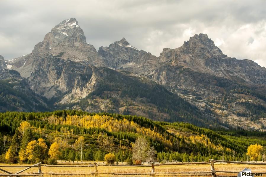 Grand Teton range in autumn, Grand Teton National Park; Wyoming, United States of America  Print