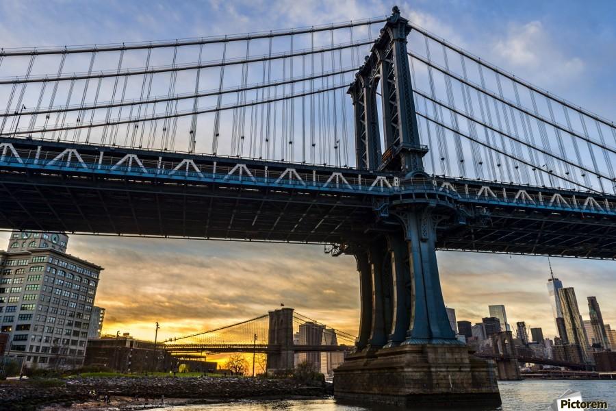 Manhattan and Brooklyn Bridges at sunset, Brooklyn Bridge ...