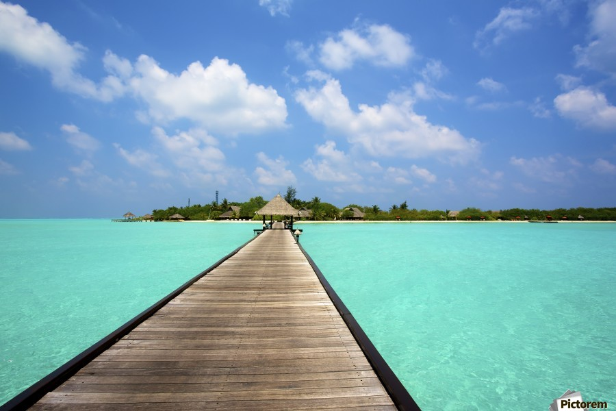 Jetty with cabana over crystal clear turquoise sea, Maldives  Print