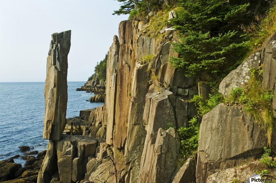 Balancing rock, basalt rock cliffs, Bay of Fundy; Long Island, Nova Scotia, Canada  Print