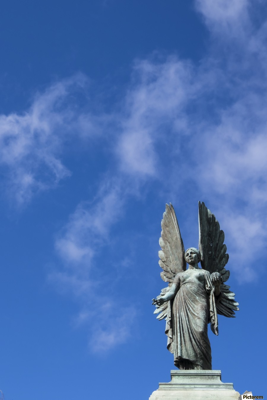Angel overlooking Parade Gardens; Bath, Somerset, England  Print