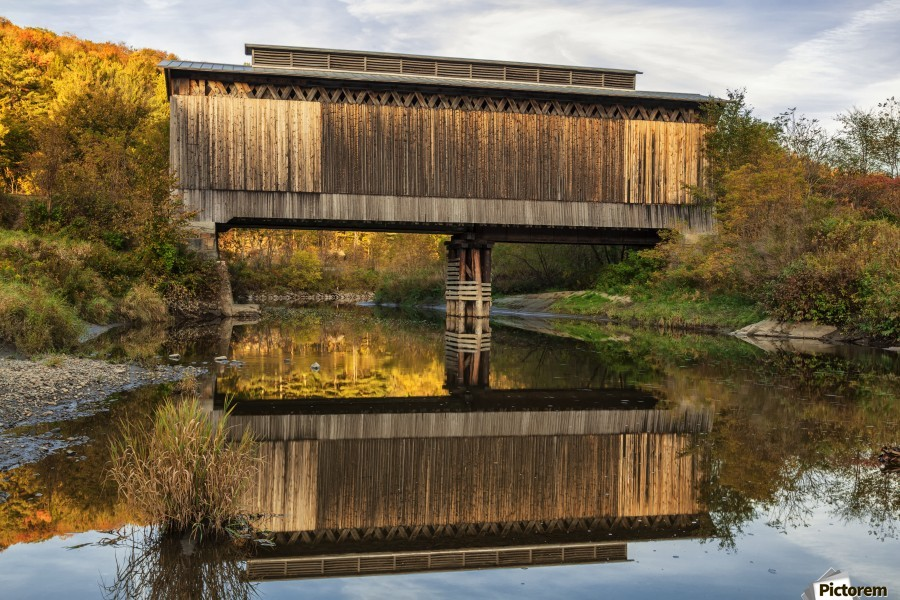 Fisher covered railroad bridge over Lamoille River in autumn; Wolcott, Vermont, United States of America  Print