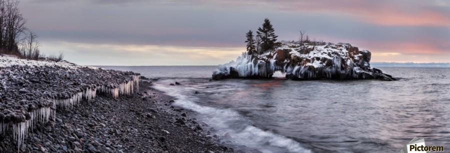 Rocks and ice on Lake Superior; Thunder Bay, Ontario, Canada  Print