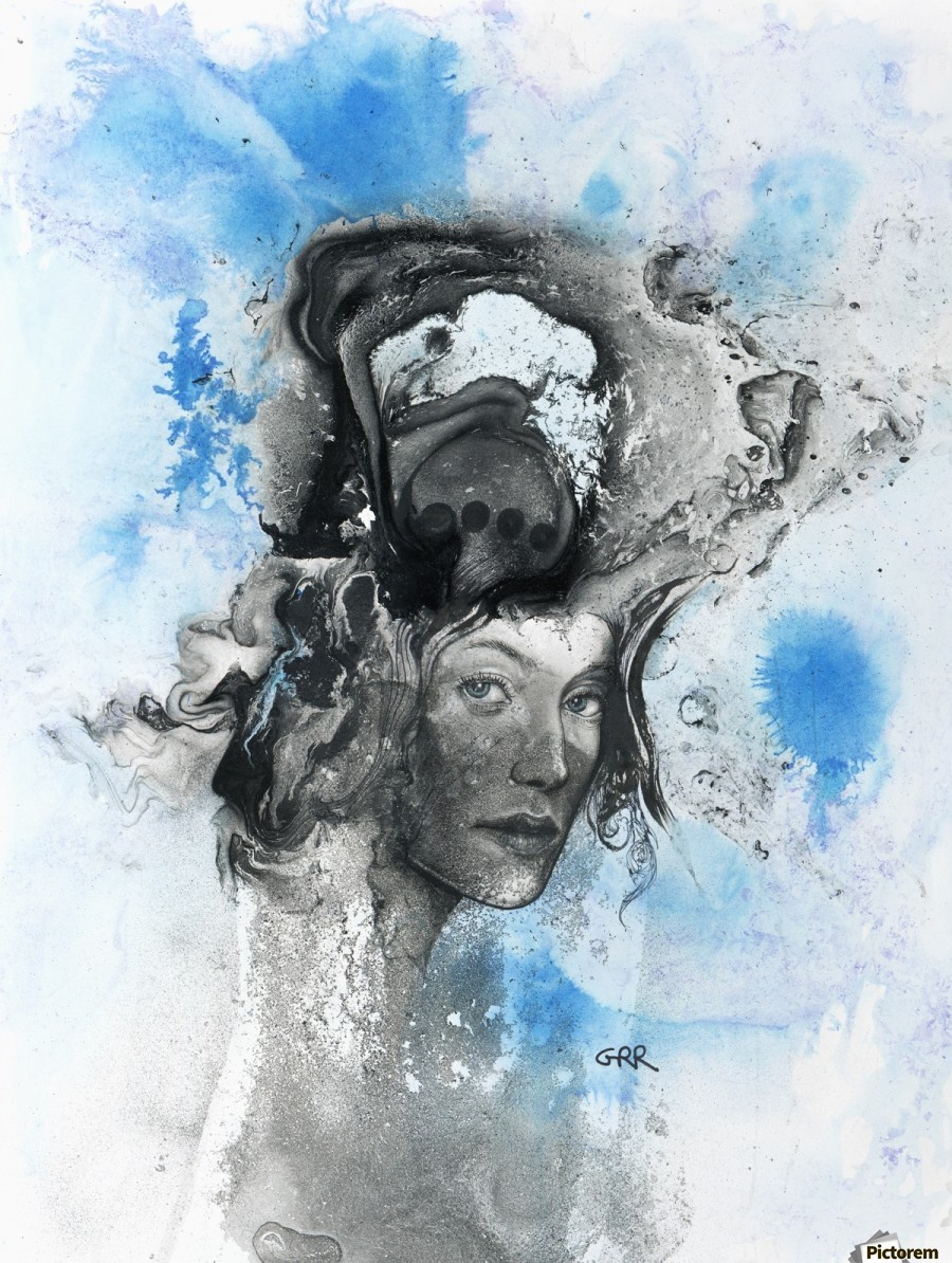 Illustration of a woman's face with splashes and shapes on the top of her head  Imprimer