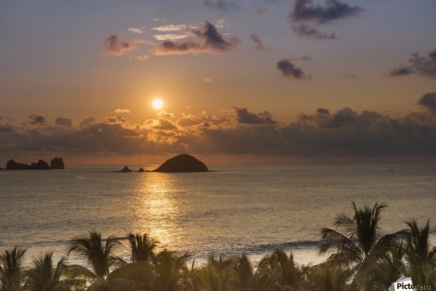 Sunset over the islands in front of Ixtapa; Ixtapa, Mexico  Print