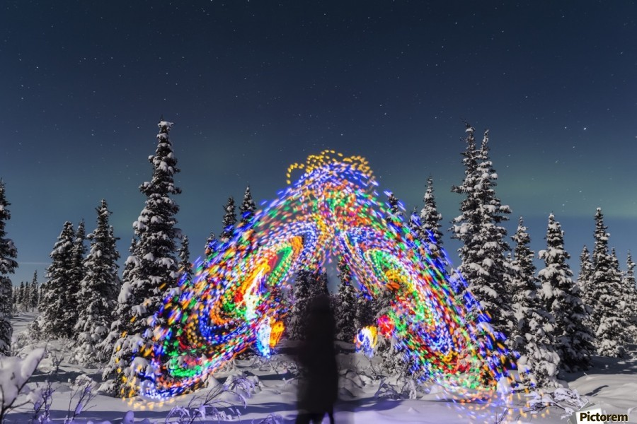 The Aurora Borealis dances over the top of a vibrant spiral light painting, the blurry figure of a man in the middle of the light painting, moonlight casting shadows on snow covered spruce trees on a clear winter night, interior Alaska; Gakona, Alaska, Un  Print