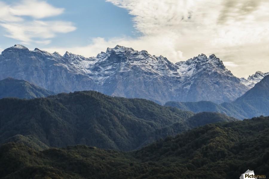 Panoramic view of the Greater Caucasus Mountains, as seen from the road between Jvari and Mestia, Zemo Svaneti National Park; Samegrelo-Zemo Svaneti, Georgia  Print