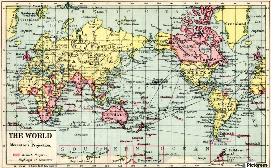 A 1930u0027s Map Of The World On Mercatoru0027s Projection. The British Empire  Shown In Red ...