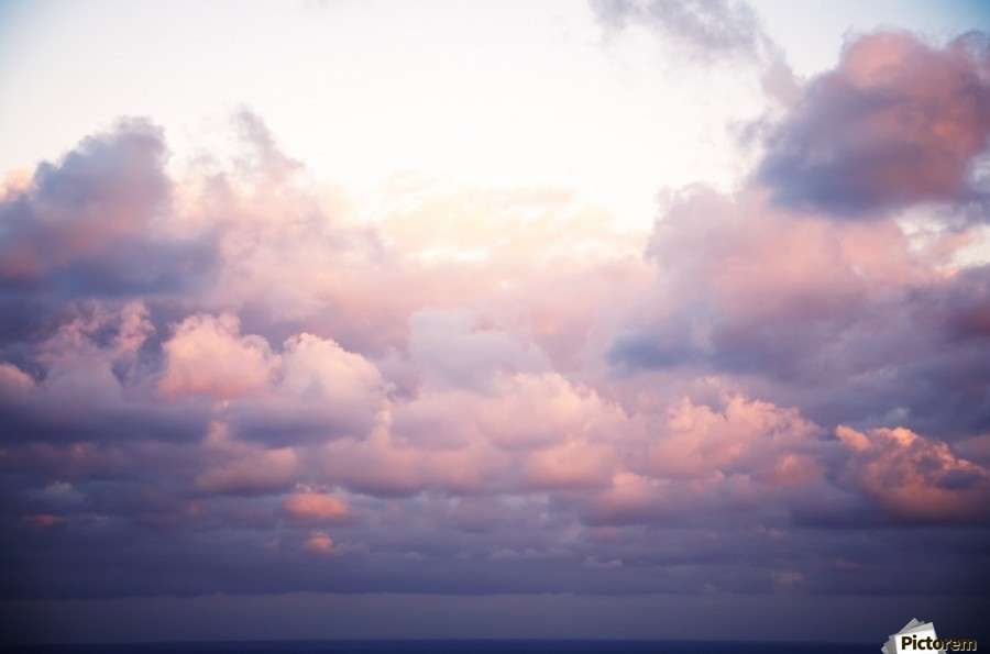 Cumulous pink clouds over horizon; Aina Haina, Oahu, Hawaii, United States of America  Print