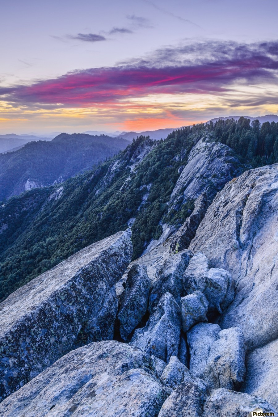 View from Moro Rock at dusk, Sequoia National Park; California, United States of America  Print