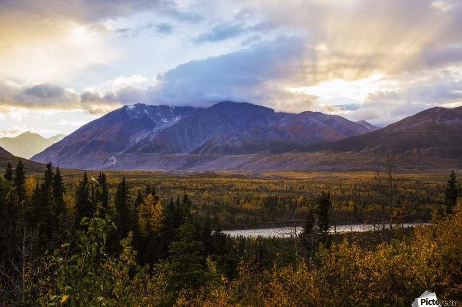 Autumn sunset overlooking the area known as 'Black Rapids' in the Alaska Range along the Richardson Highway; Alaska, United States of America  Print