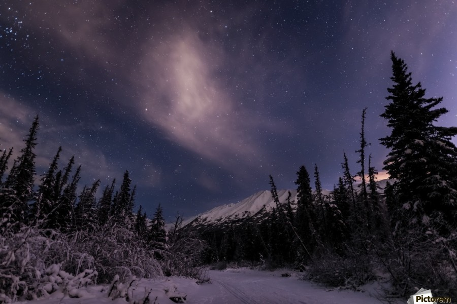 Night skies above Chugach Mountains and Eagle River Valley on winter solstice in South-central Alaska; Alaska, United States of America  Print