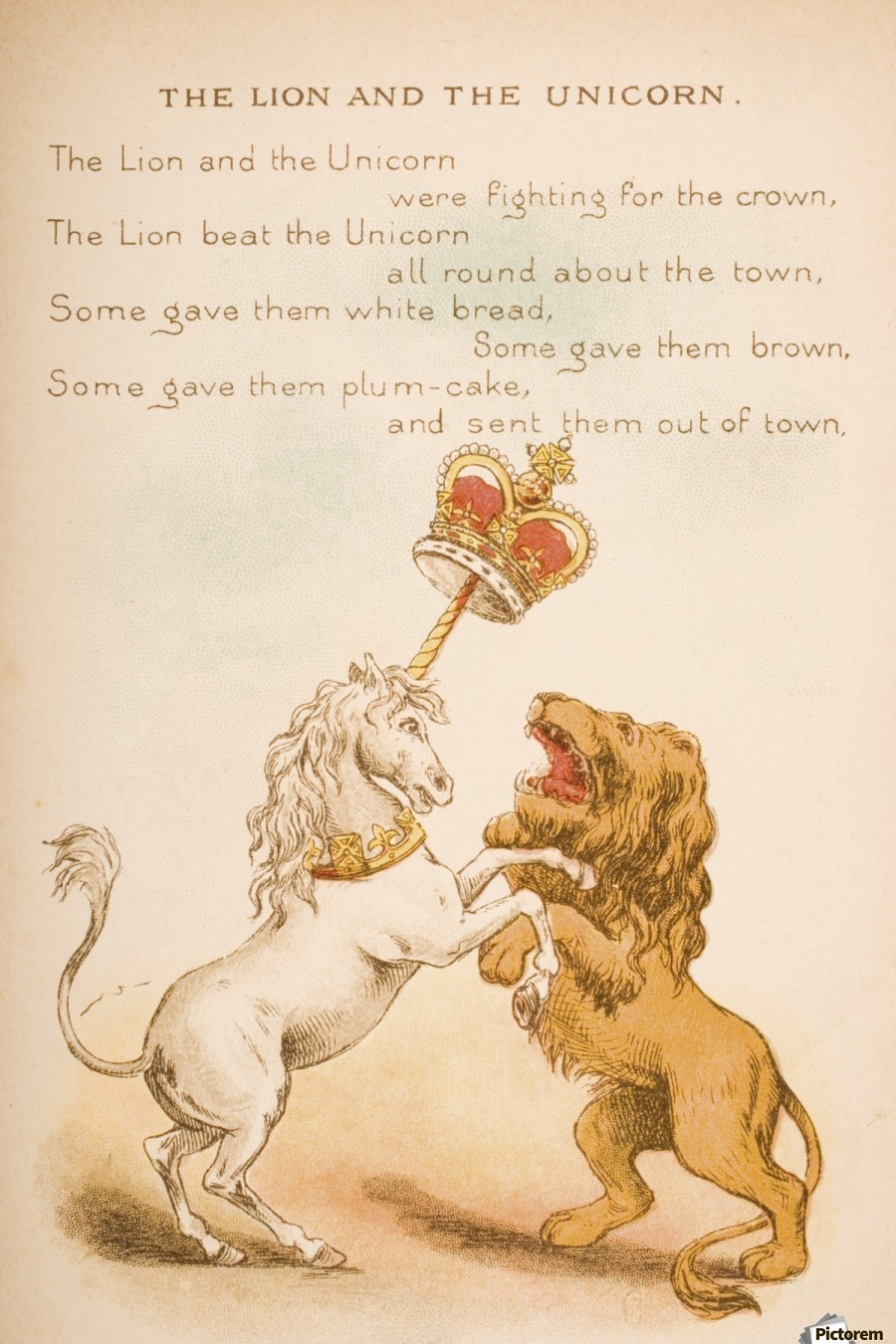 The Lion and the Unicorn from Old Mother Goose's Rhymes and Tales  Illustration by Constance Haslewood  Published by Frederick Warne & Co London and New York circa 1890s  Chromolithography by Emrik & Binger of Holland  Print