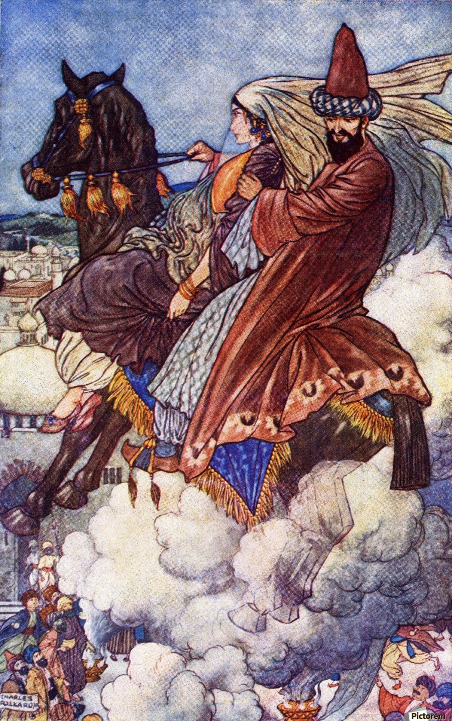 The Story of the Enchanted Horse. Illustration by Charles Folkard from the book The Arabian Nights published 1917  Print