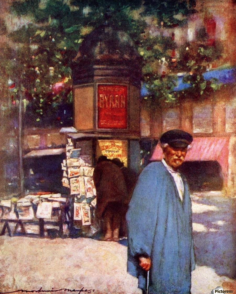 The Kiosk on the Boulevard, Paris. Colour illustration from the book France by Gordon Home published 1918  Print
