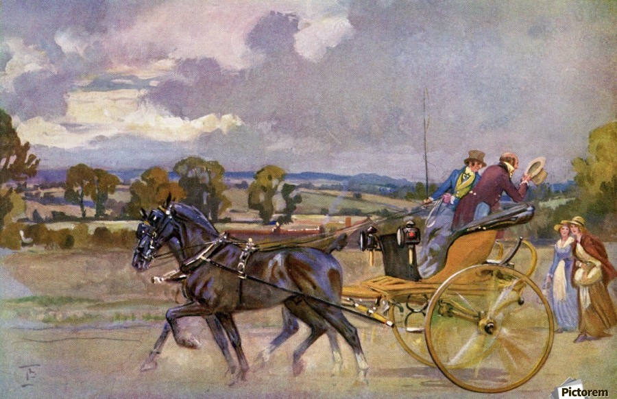 Regency Bucks in their Curricle on the road to Brighton, England.  From The Illustrated London News, Christmas Number, 1933.  Print