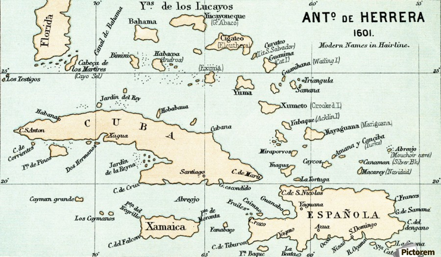 Antonio de Herrera y Tordesillas map of the Bahamas, 1601.  From the book Life of Christopher Columbus by Clements R. Markham published 1892.  Print