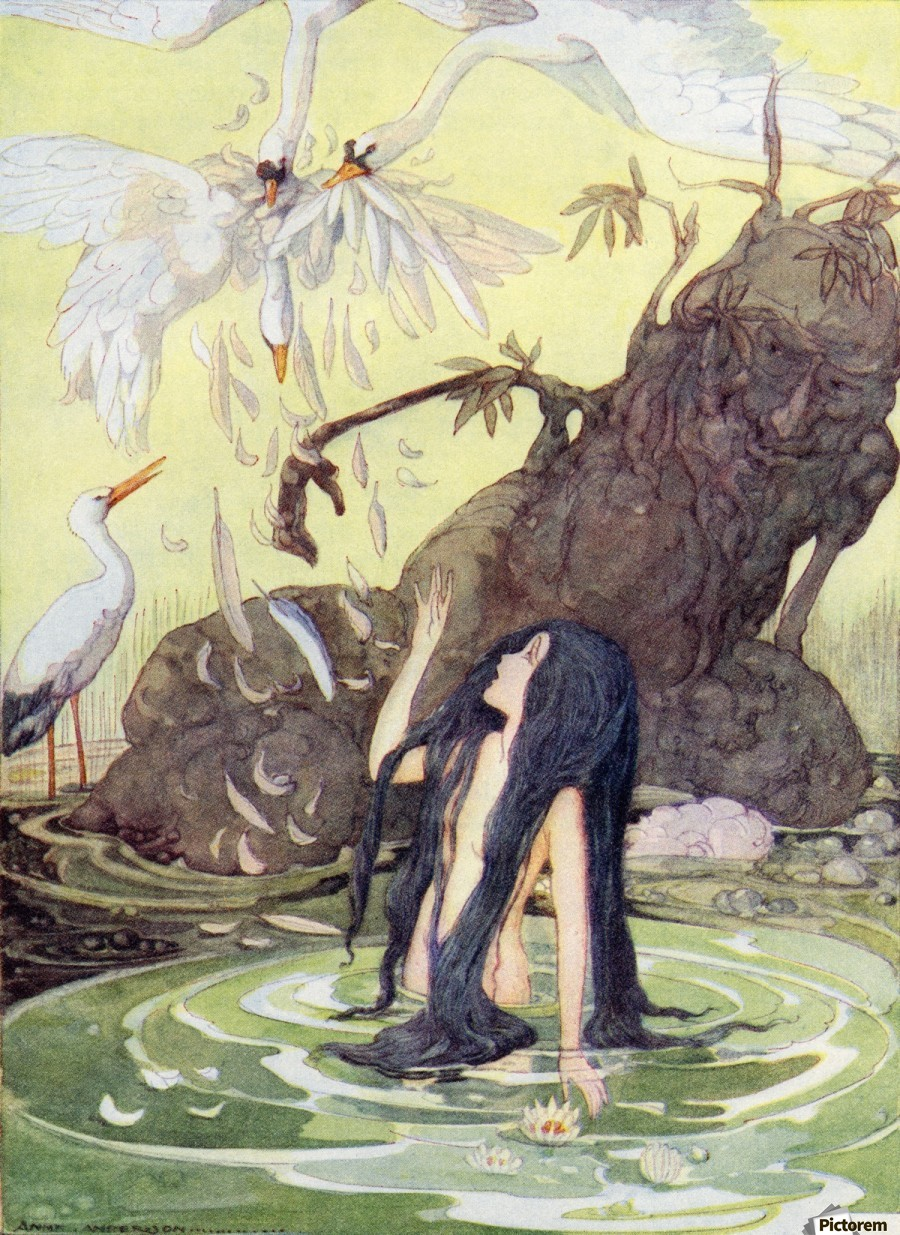 Illustration from The Marsh King's Daughter.  From The Golden Wonder Book for Children published 1934. There sat the Marsh King daughter with no covering but her long black hair.  Print