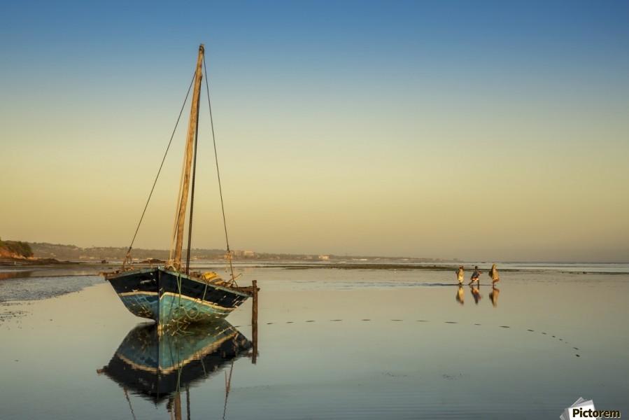 Dhow in low tide; Pemba, Cabo Delgado, Mozambique  Print