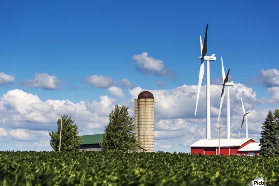 Large metal windmills in a farm yard with red barn and silo, soy bean field in the foreground and blue sky and clouds in the background; Ontario, Canada  Print